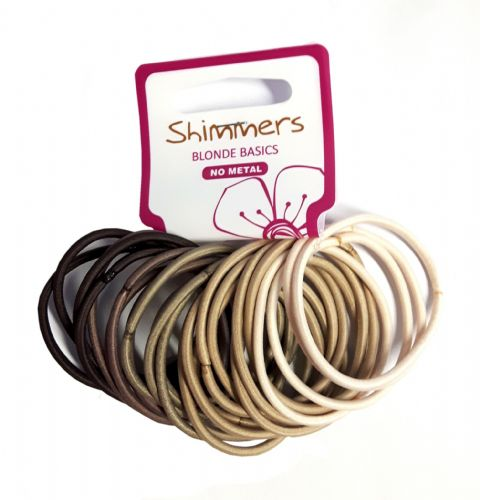 Shimmers - 24 Premium No Metal Hair Elastics - Blonde Basics